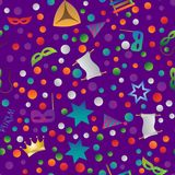 Hug Purim colorful seamless pattern. Colorful seamless pattern with objects for the Jewish holiday Purim ball mask carnival, Patty, ratchet, Jewish star, a Stock Image