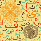 Colorful seamless pattern ornament Arabic calligraphy of text Eid Mubarak concept for muslim community festival Stock Photos