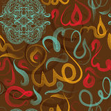 Colorful seamless pattern ornament Arabic calligraphy of text Eid Mubarak concept for muslim community festival Stock Images