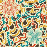 Colorful seamless pattern ornament Arabic calligraphy of text Eid Mubarak concept for muslim community festival Royalty Free Stock Photo