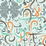 Colorful seamless pattern ornament Arabic calligraphy of text Eid Mubarak concept for muslim community festival Royalty Free Stock Photography