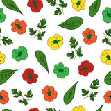 Colorful seamless pattern with paprika, spinach and parsley vector illustration, colorful print for design. Colorful hand drawn seamless pattern with paprika Stock Images