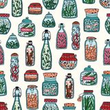 Colorful seamless pattern with pickled vegetables and spices in glass jars and bottles hand drawn on white background Stock Image