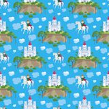 Fairytale princes seamless pattern. Colorful seamless pattern with a picture of a fairytale castle and Prince. Vector background Royalty Free Stock Photo