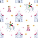 Fairytale prince and princess pattern. Colorful seamless pattern with a picture of a fairytale castle, Princess and Prince. Vector background Royalty Free Stock Photos