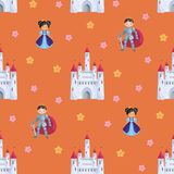 Fairytale prince and princess pattern. Colorful seamless pattern with a picture of a fairytale castle, Princess and Prince. Vector background Stock Photo