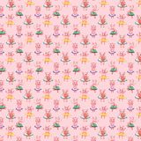 Colorful seamless pattern with pig, pastel textile fabric print illustration. Colorful seamless pattern with pig, pastel textile print illustration stock photos