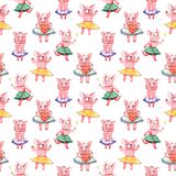 Colorful seamless pattern with pig, pastel textile fabric print illustration. Colorful seamless pattern with pig, pastel textile print illustration stock photo