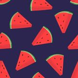 Colorful seamless pattern with pink slices of fresh watermelon on purple background. Backdrop with summer delicious. Refreshing fruits. Vector illustration for Stock Photo