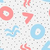 Colorful seamless pattern with polka dots and geometric shapes painted by hand. royalty free illustration