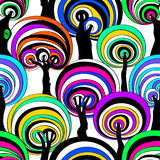 Colorful Seamless Pattern Of Psychedelic Crazy Trees. Royalty Free Stock Photography