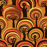Colorful Seamless Pattern Of Psychedelic Crazy Trees. Stock Photos