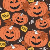 Colorful seamless pattern, pumpkins for Halloween day, maple leaves. Decorative background vector illustration