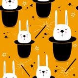 Colorful seamless pattern with rabbits in hats, magic wands, stars royalty free illustration