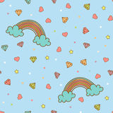 Colorful seamless pattern with rainbow, heart, diamond, crystal. Hand drawn vector Illustration for kid textile, card Royalty Free Stock Photography