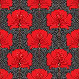 Colorful seamless pattern with red flowers Stock Photography