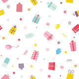 Colorful seamless pattern with ribbons and stars Stock Photos