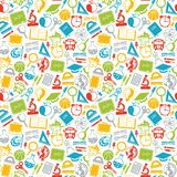 Colorful seamless pattern school subjects Stock Images
