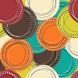 Colorful seamless pattern with sewing round shapes Stock Photos