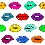 Colorful Seamless Pattern Of Sexy Female Lips. Seamless pattern of sexy glamour cartoon female lips with colorful lipstick on a white background. Beauty and Royalty Free Stock Image