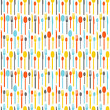 Colorful seamless pattern with silhouettes of cutlery. Wallpaper with colored silhouettes of cutlery. Silhouettes fork Stock Photos