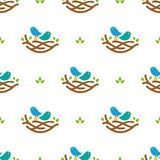 Seamless pattern with colorful singing birds in nest in minimalistic style on white background Stock Photos