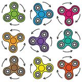 Colorful seamless pattern of spinner on white background. Hand drawn style royalty free illustration