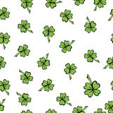 Colorful seamless pattern St. Patrick in doodle Stock Photos