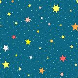 Colorful seamless pattern with stars. Endless starry sky. Cartoon vector illustration for children Royalty Free Stock Photography