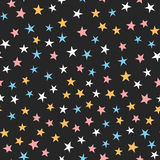 Colorful seamless pattern with stars. White, blue, pink, orange, black color. Cartoon vector illustration Royalty Free Stock Photos