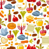 Colorful seamless pattern with symbols of Rosh Hashanah Jewish New Year .Cartoon flat style vector illustration. Rosh Hashanah, Shana Tova or Jewish New year Stock Photos