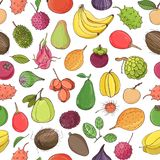 Colorful seamless pattern with tasty sweet fresh juicy exotic tropical fruits on white background. Backdrop with. Delicious healthy vegetarian food. Vector Stock Photo