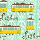Colorful seamless pattern with tipical Lisbon tram Royalty Free Stock Images