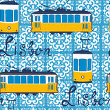 Colorful seamless pattern with tipical Lisbon tram Royalty Free Stock Photo