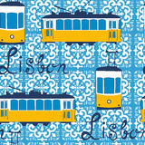 Colorful seamless pattern with tipical Lisbon tram Stock Photography