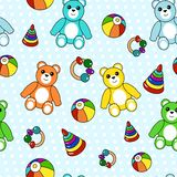 Colorful seamless pattern with toys Royalty Free Stock Images