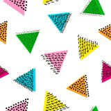 Colorful seamless pattern from triangles. Bright background. 80`. S - 90`s years design style. Trendy. Vector illustration Royalty Free Stock Image