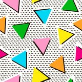 Colorful seamless pattern from triangles. Bright background. 80`. S - 90`s years design style. Trendy. Vector illustration Stock Image
