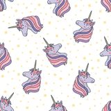 Colorful seamless pattern with unicorn heads. Backdrop with magical creatures with horn, fairytale animals and stars stock illustration