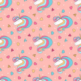 Colorful seamless pattern with unicorn, heart, diamond, crystal. Hand drawn  Illustration for kid textile, card, pin, t-shir Stock Photos