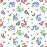 Colorful seamless pattern with unicorn, heart, diamond, crystal. Hand drawn Illustration for kid textile, card, pin, t-shirt print Royalty Free Stock Photo