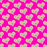 Colorful seamless pattern Valentine`s Day red heart background Royalty Free Stock Photography