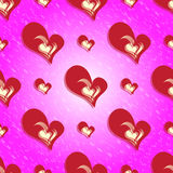 Colorful seamless pattern Valentines Day red heart background Stock Photos