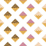 Colorful seamless pattern. Vanilla waffles with glaze and sprink Stock Photo