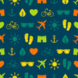 Colorful seamless pattern with various elements, summer theme Stock Images