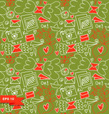 Colorful seamless pattern. Vector doodle background with letters, hearts and other cute details. Funny decorative graphic texture Stock Image