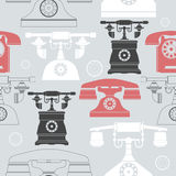 Colorful seamless pattern with vintage phones Stock Photography