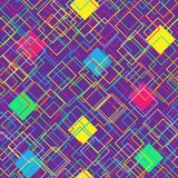 Colorful seamless pattern on violet background. Modern concept with color squares. Abstract geometric shapes. Vector. Illustration Royalty Free Stock Photography