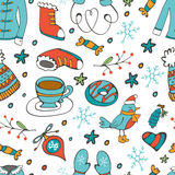 Colorful seamless pattern with winter related hand drawn elements Royalty Free Stock Photography
