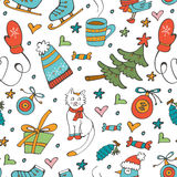Colorful seamless pattern with winter related hand drawn elements Stock Photography